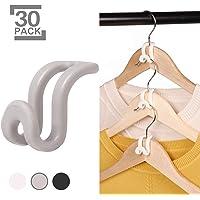 KEAEF Clothes Hanger Connector Hooks, Mini Cascading Hanger Hooks for Velvet Huggable Hangers, Wooden Hangers, Heavy Duty Space Saving for Closet (Grey, 30)