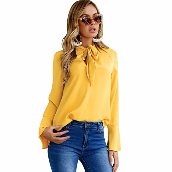 Elegant Chiffon Blouse Women Lace up Blouses and Tops Loose Feamle Flare Sleeve Blouse Ladies at Amazon Womens Clothing store: