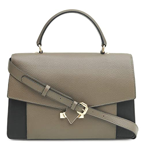 3788871edd0e Da Milano LB-4349 Brown Black Women s Leather Satchel Bag  Amazon.in  Shoes    Handbags