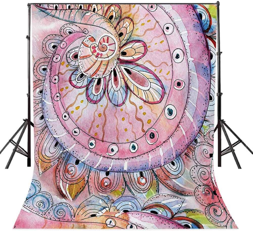 Arabesque Traditional Floral Pattern Colored with Watercolor Effects Art Background for Baby Birthday Party Wedding Vinyl Studio Props Photography Multicolor 10x15 FT Photography Backdrop