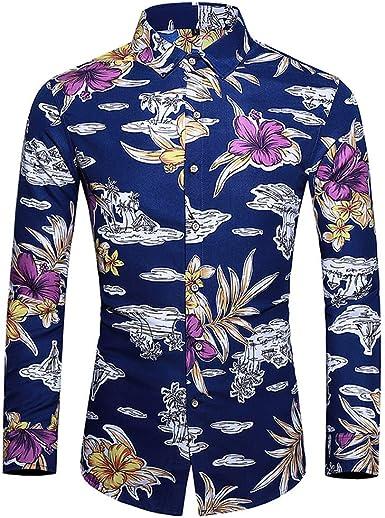 SoonerQuicker Camisa de Hombre Camisa de Manga Larga de la Moda de Hombre del Estilo Hawaiano Que Imprime la Blusa de Las Tapas T Shirt tee: Amazon.es: Ropa y accesorios