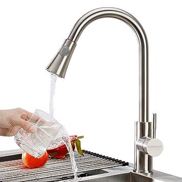 triple tree edelstahl küchenarmatur wasserhahn küche ... - Armatur Küche Ausziehbar