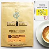 500 Grams Whole Beans Brown Bottle Coffee House Blend Ground Coffee or Beans | Strong Medium Roast Coffee Blend Perfect for Espresso Coffee Cafetiere Filter or Moka Pot | 100% Arabica Beans Speciality Coffee | RFA | Fair Trade Organic
