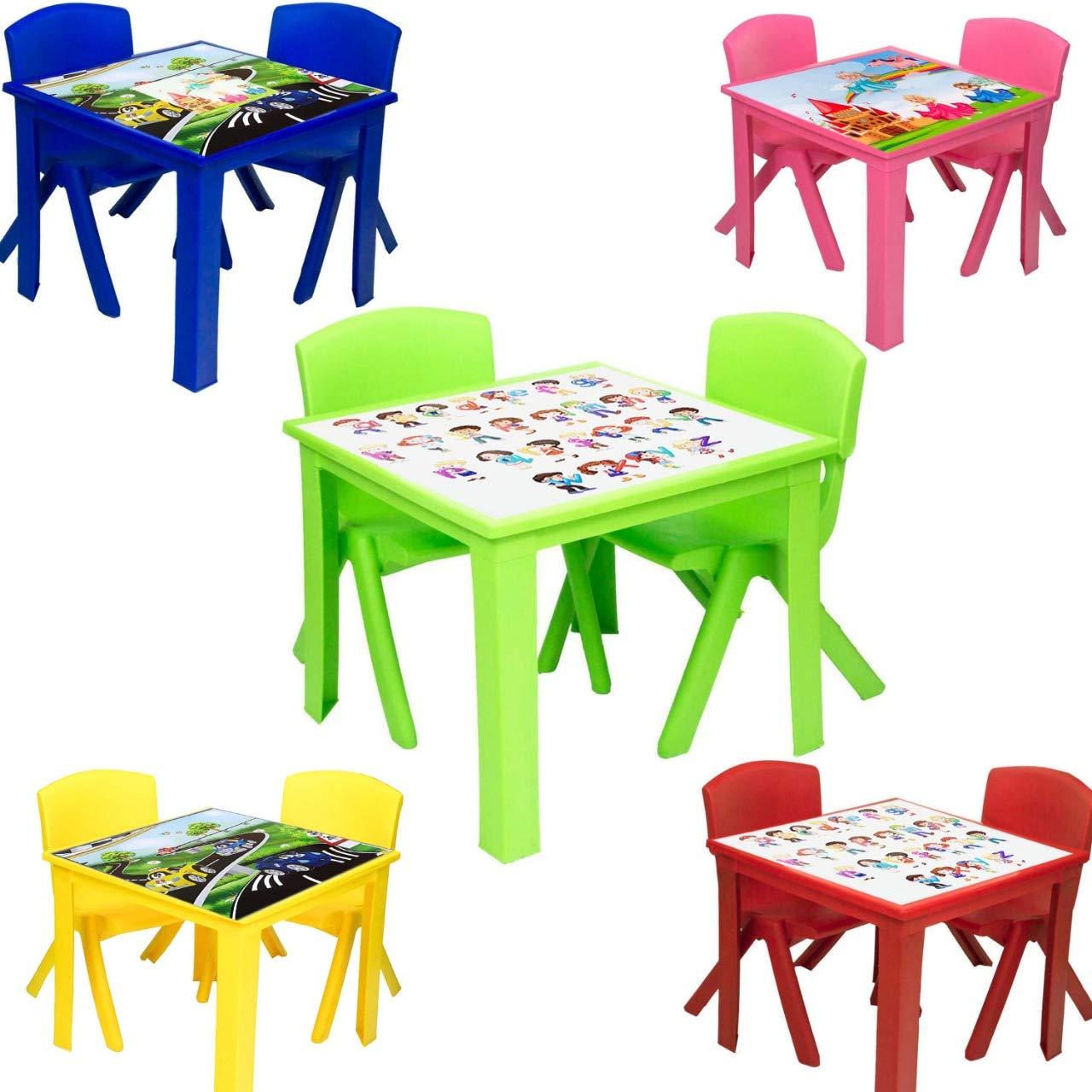 A406 Toddler Plastic Table and Chairs for Children Kids Plastic Nursery Set Outdoor indoor Blue, Table + 1 Chair