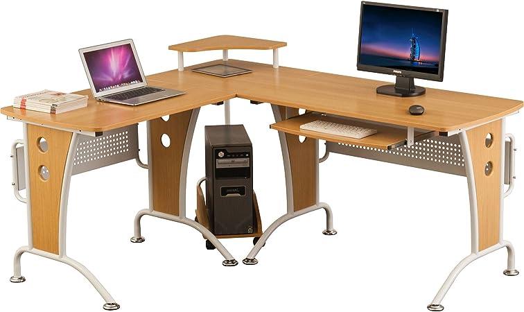 Gran Mesa Escritorio de Esquina con Bandeja de Teclado y Carretilla de CPU para la Oficina en Casa Efecto Roble PC 21o