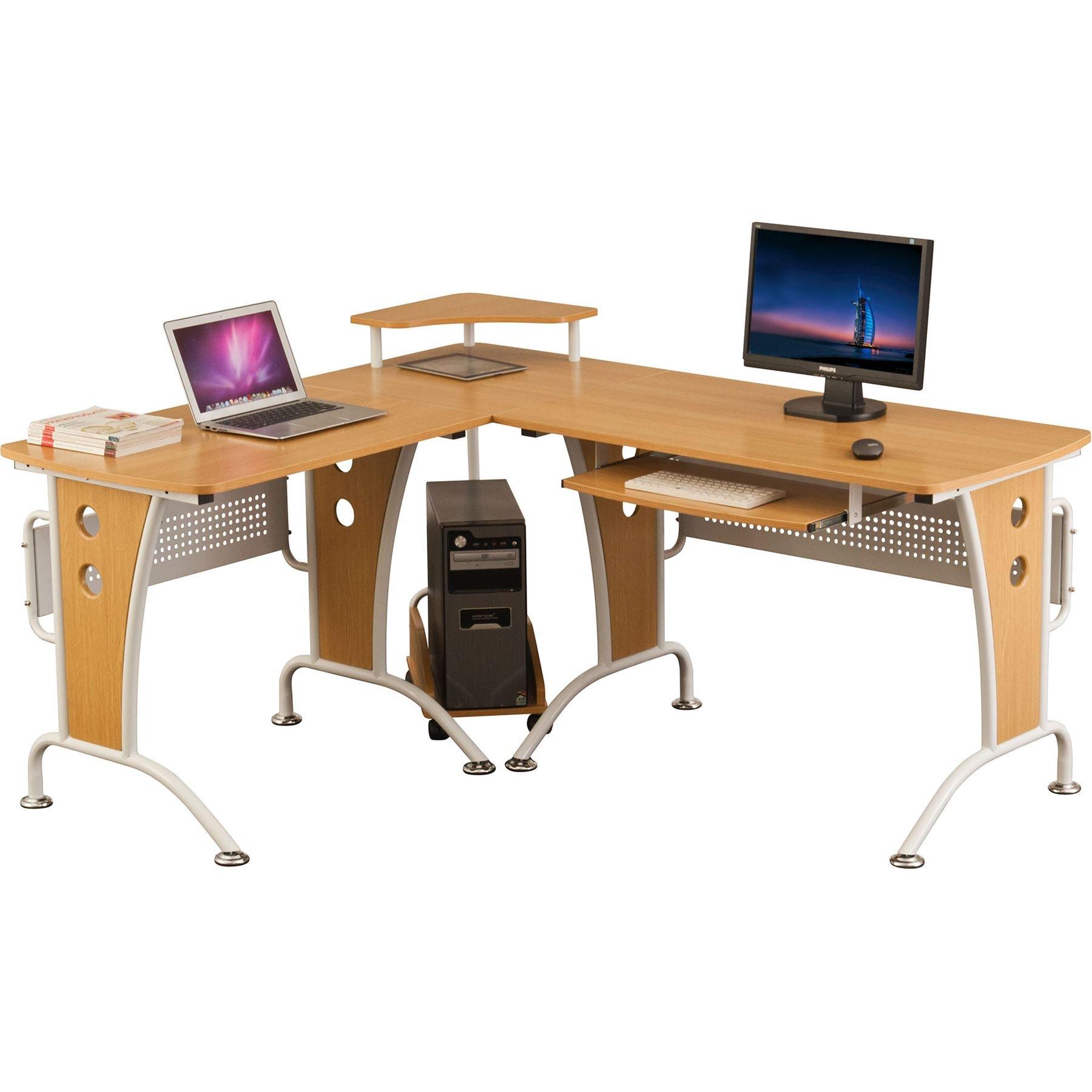 Gran Mesa Escritorio de Esquina con Bandeja de Teclado y Carretilla de CPU para la Oficina