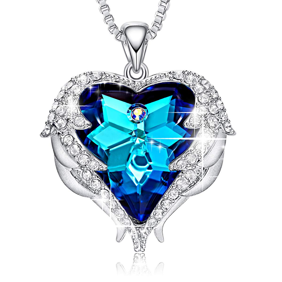 CDE Blue Heart of Ocean Necklaces Angel Wings Swarovski Crystal Jewelry Silver Pendant Necklaces