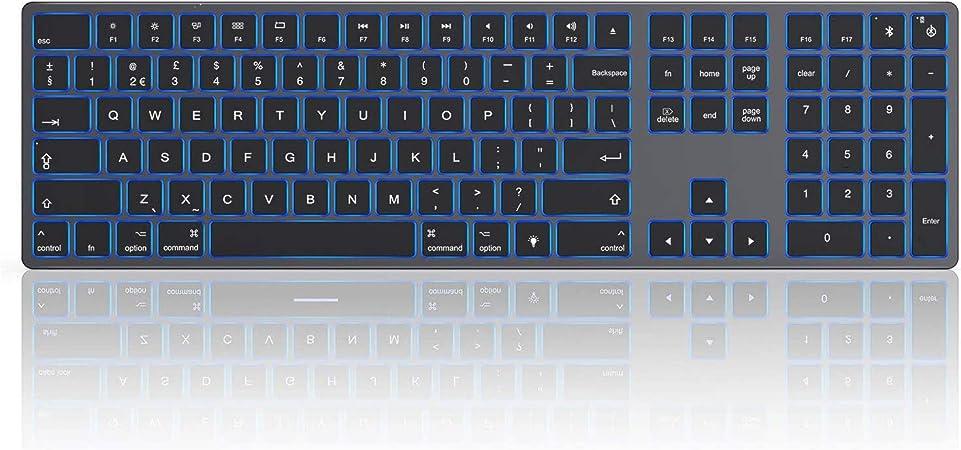 Teclado Bluetooth inalámbrico retroiluminado para Mac OS, Jelly Comb teclado recargable de tamaño completo Qwerty Reino Unido para MacBook, iMac, ...