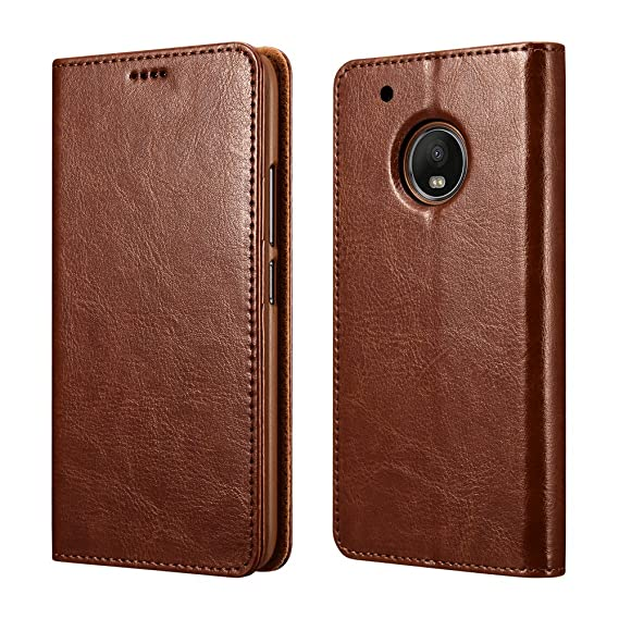newest collection 17f4f da136 Moto G5 Plus Case,XOOMZ Vegan Leather Wallet Case for Moto G5 Plus Folio  Flip Cover with Credit Card Slots (Brown)