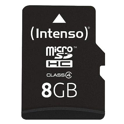 Intenso 3403460 Micro Tarjeta de Memoria SD 8 GB Grado 4 con SD Adaptador, Azul