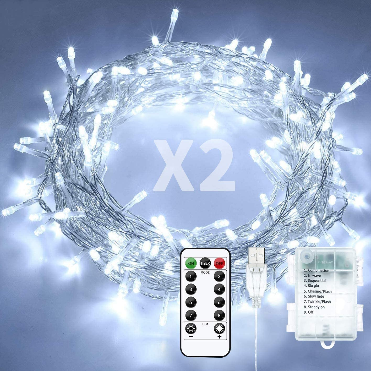 Baimo 2 Pack 33ft 100 LED Battery Operated String Lights with USB Cable, 8 Modes Waterproof Remote Timer Fairy Lights Indoor Outdoor for Christmas, Garden, Party (Cool White)