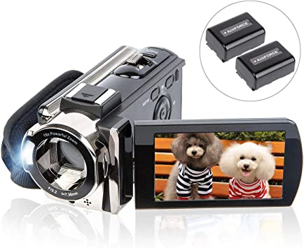 Amazon Com Video Camera Camcorder Digital Youtube Vlogging Camera Recorder Kicteck Full Hd 1080p 15fps 24mp 3 0 Inch 270 Degree Rotation Lcd 16x Digital Zoom Camcorder With 2 Batteries 604s Camera Photo