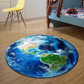 Jixia Badvorleger 3d Erde Runde Teppich Wohnzimmer Wohnzimmer