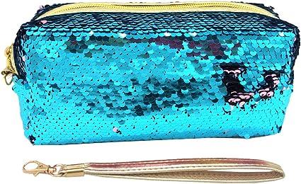 Uniuooi - Neceser, estuche, bolsa para cosméticos diseño sirena, con lentejuelas brillantes reversibles de dos colores, con