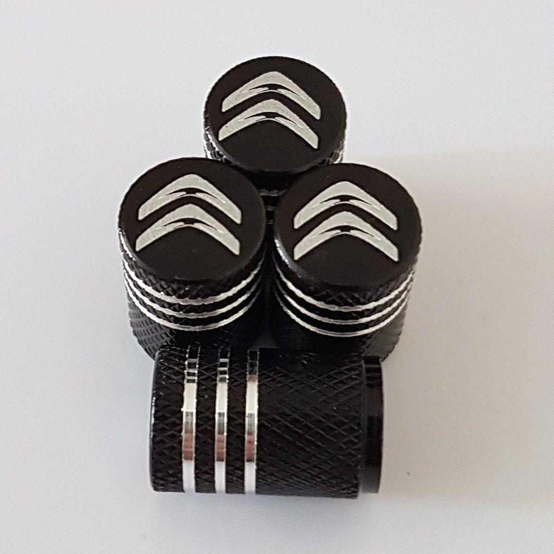 Sportimo Citroen nero inciso a laser in lega auto valvola del pneumatico tappi antipolvere adatto a tutti i modelli