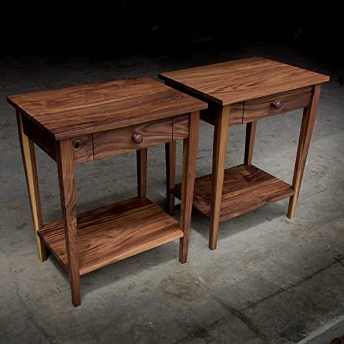 Shaker Inspired Solid Walnut Hardwood 16u0026quot; X 22u0026quot; Side Table End  Table Nightstand
