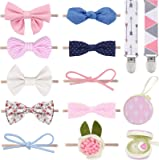 Baby Girl Headbands and Bows, for Infant Newborn and Toddler Nylon Hairbands + 2 Pacifier Clips + Pacifier Case Baby…