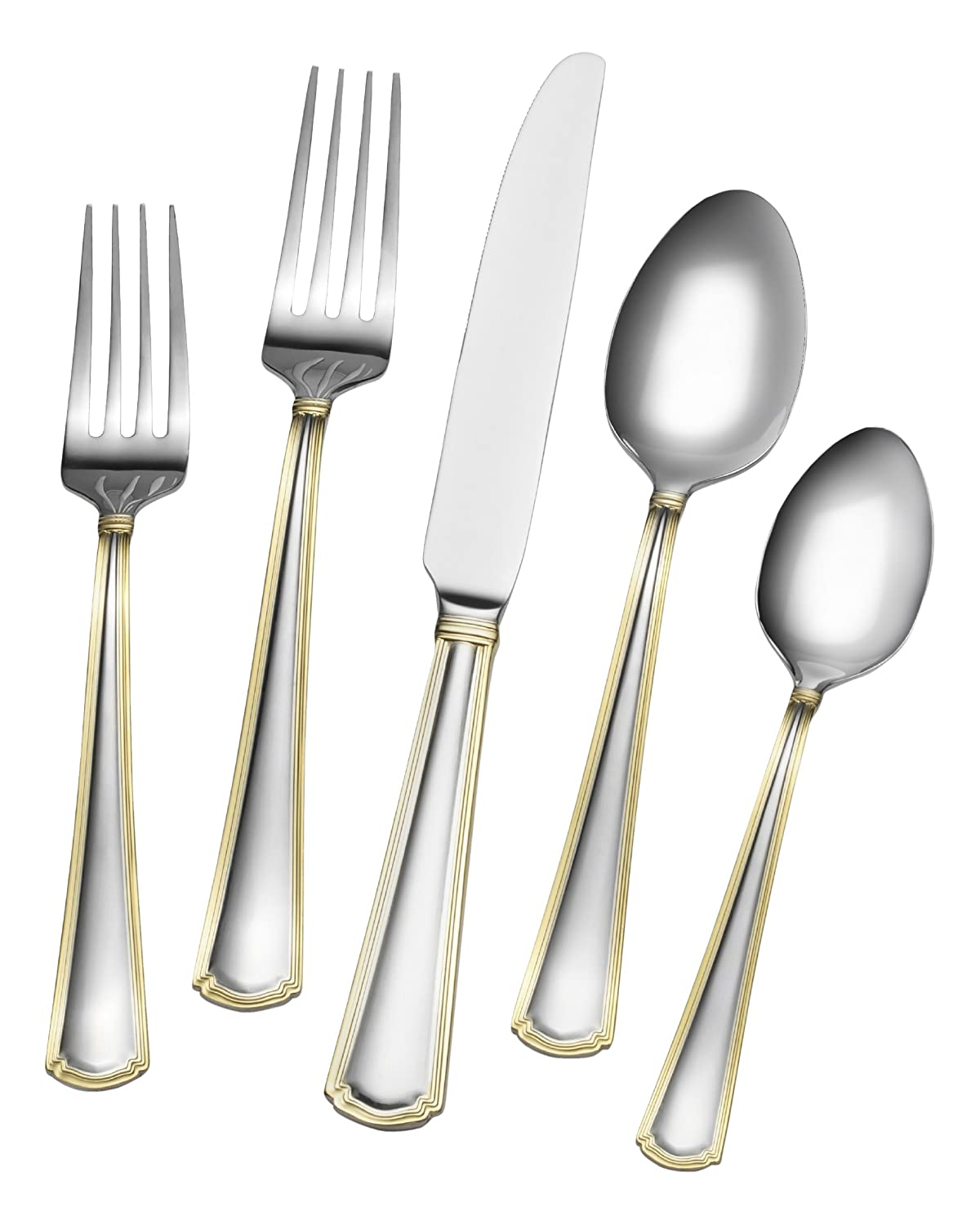 Gourmet Basics by Mikasa 5181722 Universal Flatware 20-Piece Stainless Steel Flaware Set Service for 4