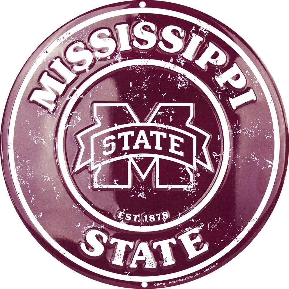 "Mississippi State Bulldogs Metal Sign University Sports Dorm Decor Vintage Aluminum Metal Signs Tin Plaque Wall Art Poster for Garage Man Cave Beer Cafe Bar Pub Club Patio 12""X12""Round"