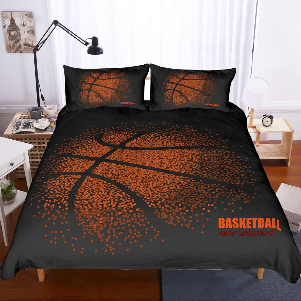 REALIN Basketball Duvet Cover Set Sports Theme Bedding Fine Basketball Series Bed Sets Suitable for Teen Boys,2/3/4PCS Microfiber Quilt Covers/Sheets/Pillow Shams,Twin/Full/Queen/King Size by REALIN
