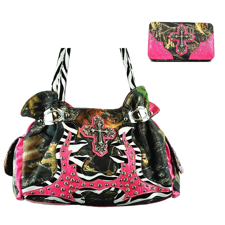 Western Camouflage Cross Women's Handbag Purse W/Zebra handles and Matching Wallet in 3 colors.