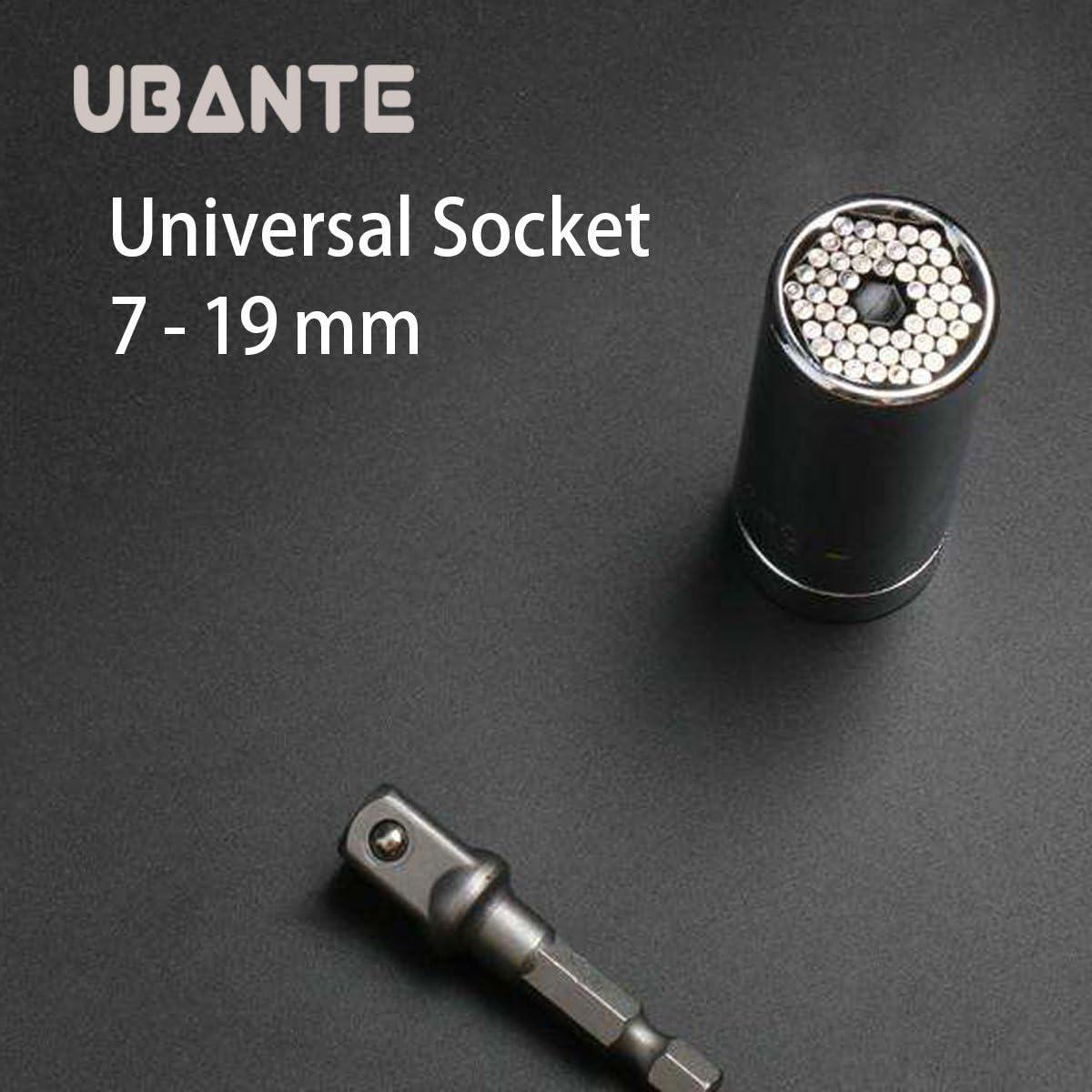 7mm-19mm UBANTE Universal Socket Multifunctional 1//4/'/'-3//4/'/' Universal Sockets Metric Wrench Power Drill Adapter Socket Professional Repair Tools