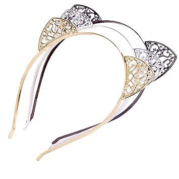 Aro de diamantes de imitación de cristal Headwear Cabello Cabeza Banda de Cabello Aro Diadema Orejas de Gato