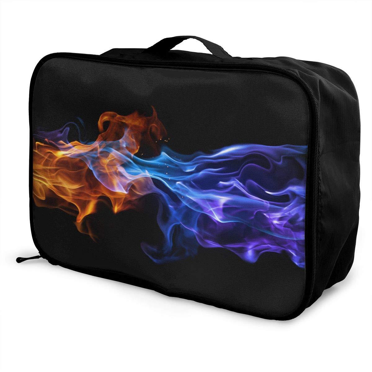 Travel Luggage Duffle Bag Lightweight Portable Handbag Blue Fire Pattern Large Capacity Waterproof Foldable Storage Tote