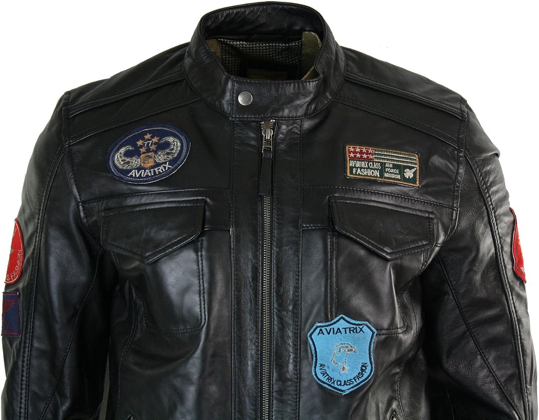 Veste motard pilote style US cuir v/éritable zipp/ée d/étail badge d/écontract/é noir homme
