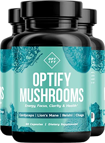 OPTIFY Mushroom Supplement – Max Strength 4X Extract Lions Mane, Cordyceps, Reishi Chaga – Immune System Support for Stress Relief, Energy, Focus, Memory Nootropic Brain Booster 90 Capsules