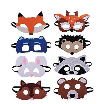 BUWANT Amigos del Bosque Fieltro Máscara Animal 8 Piezas para Fiesta de Cumpleaños Favores Disfraces