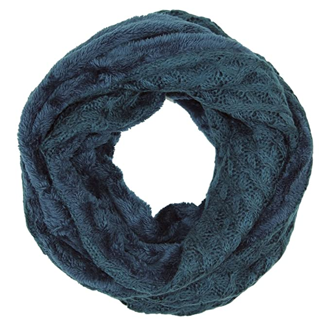 a9f4f3136cc Me Plus Women's Winter Fleece Lined Cable Knit Soft Thick Circle Loop  Infinity Scarf