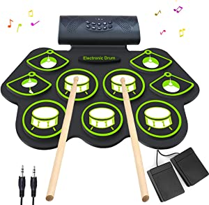 Electronic Drum Set - MIDI Drum Practice Pads,Bluetooth Portable Roll Up Electric Drum kit for Kids Beginner,Kids Drum Set with Headphone Jack, Built in Speaker, Battery, Drum Stick Drum Pedals