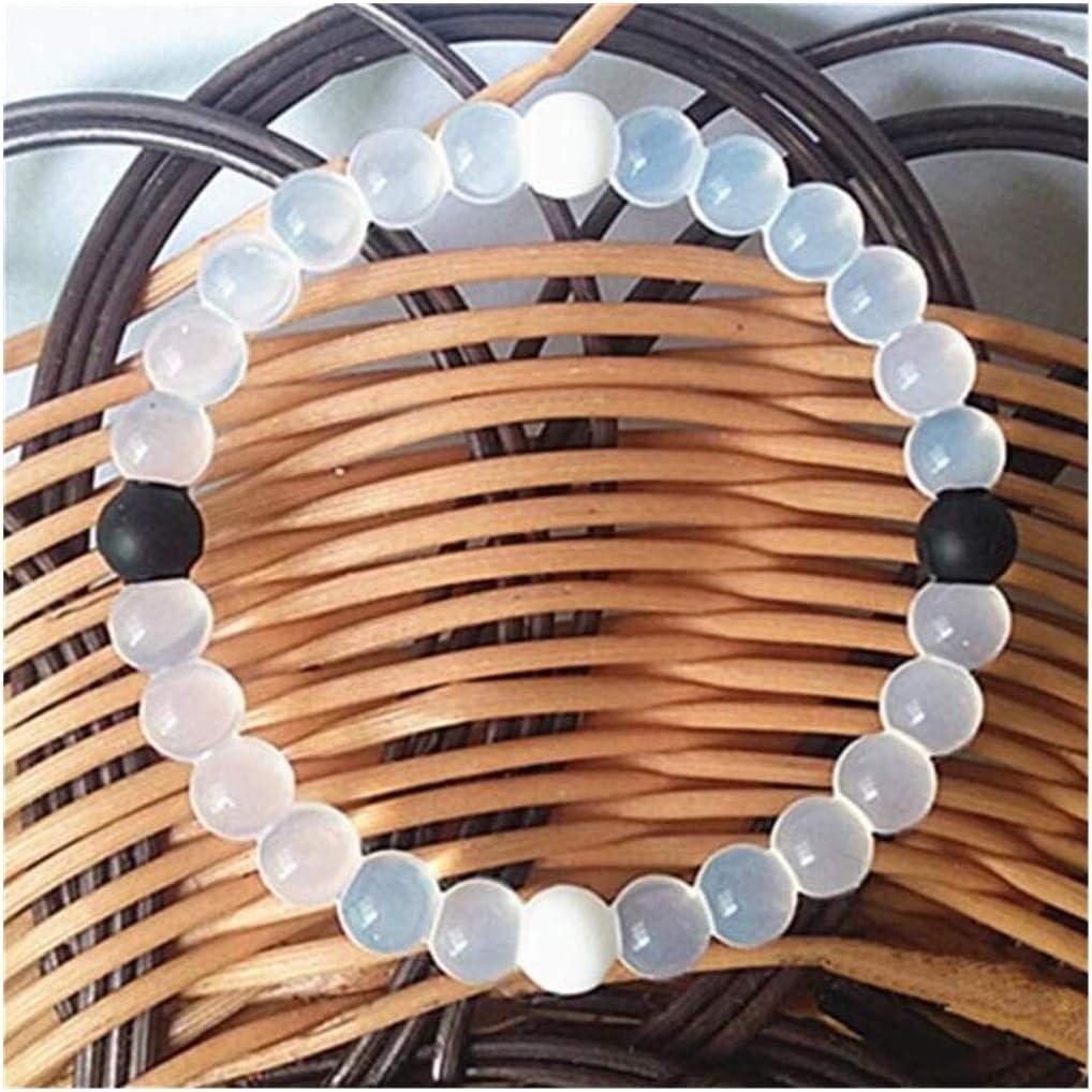 NOCEVCX Pulsera de Cristal Transparente Grano de la joyería de la Piedra Preciosa Pulsera de curación de Cristal Pulsera del Estiramiento de Yin Yang línea de Silicona, M (Azul) (Color : White)