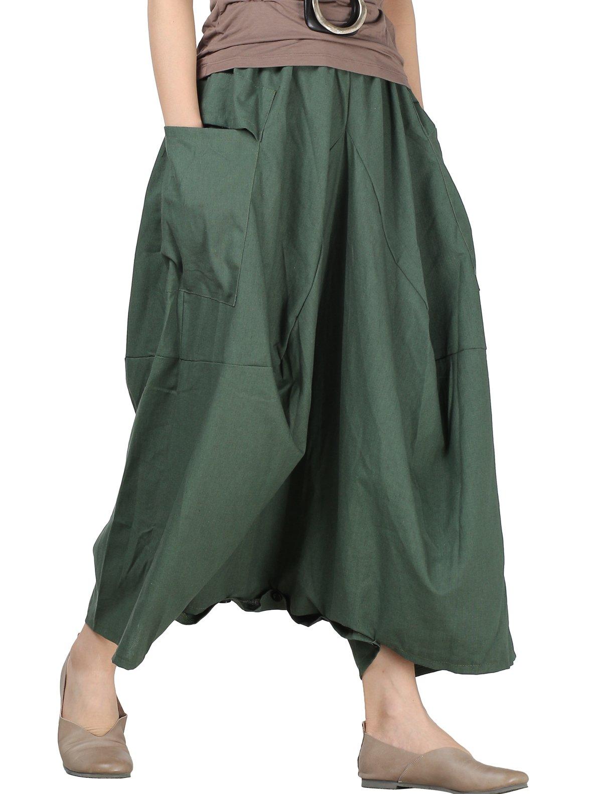 Mordenmiss Women's Drop Crotch Pants Linen Harem Drape Capri Culottes Style 3 Green
