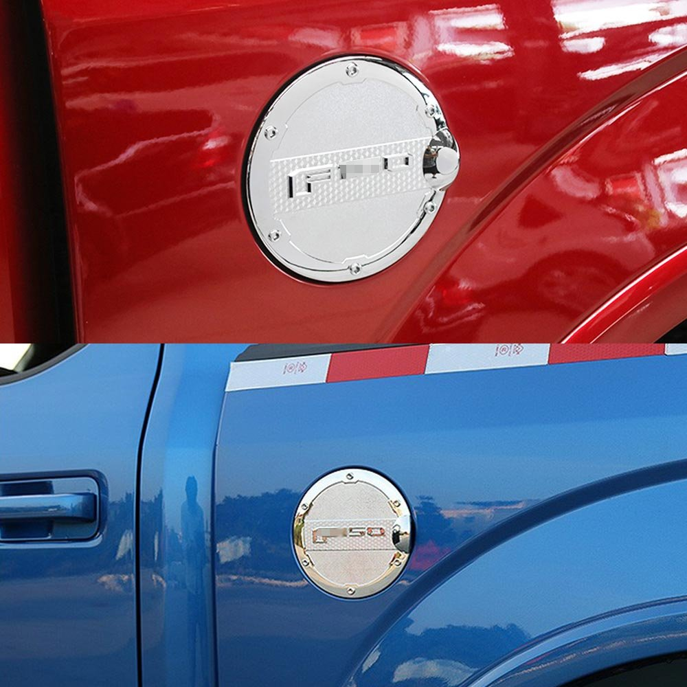 Gas Cap Cover Tank Fuel Filler Door Covers Chrome for Ford Raptor 2015 2016 2017