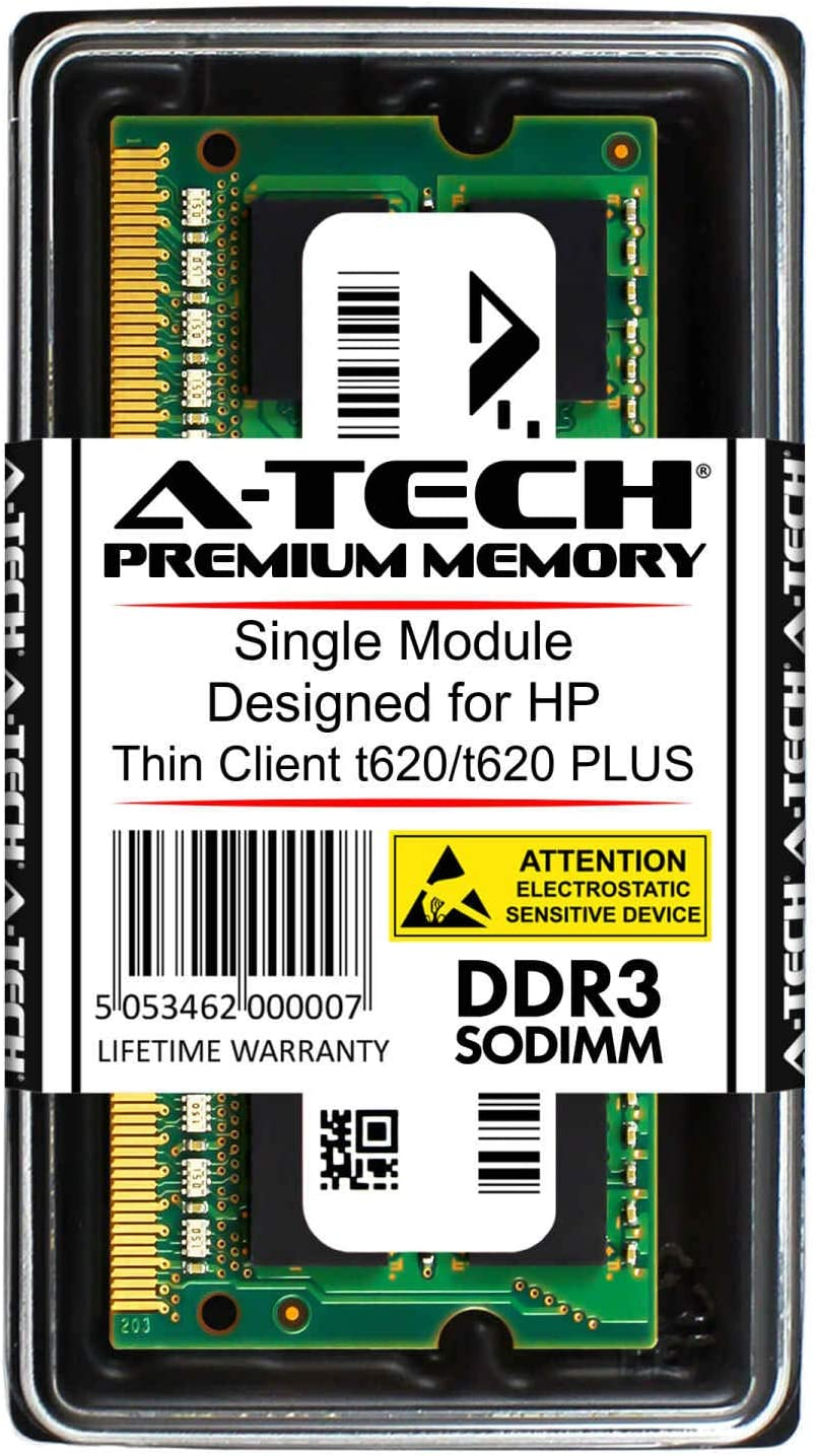 A-Tech 8GB RAM for HP Thin Client t620/t620 Plus | DDR3 1600 SODIMM PC3-12800 1.5V 204-Pin Memory Upgrade Module