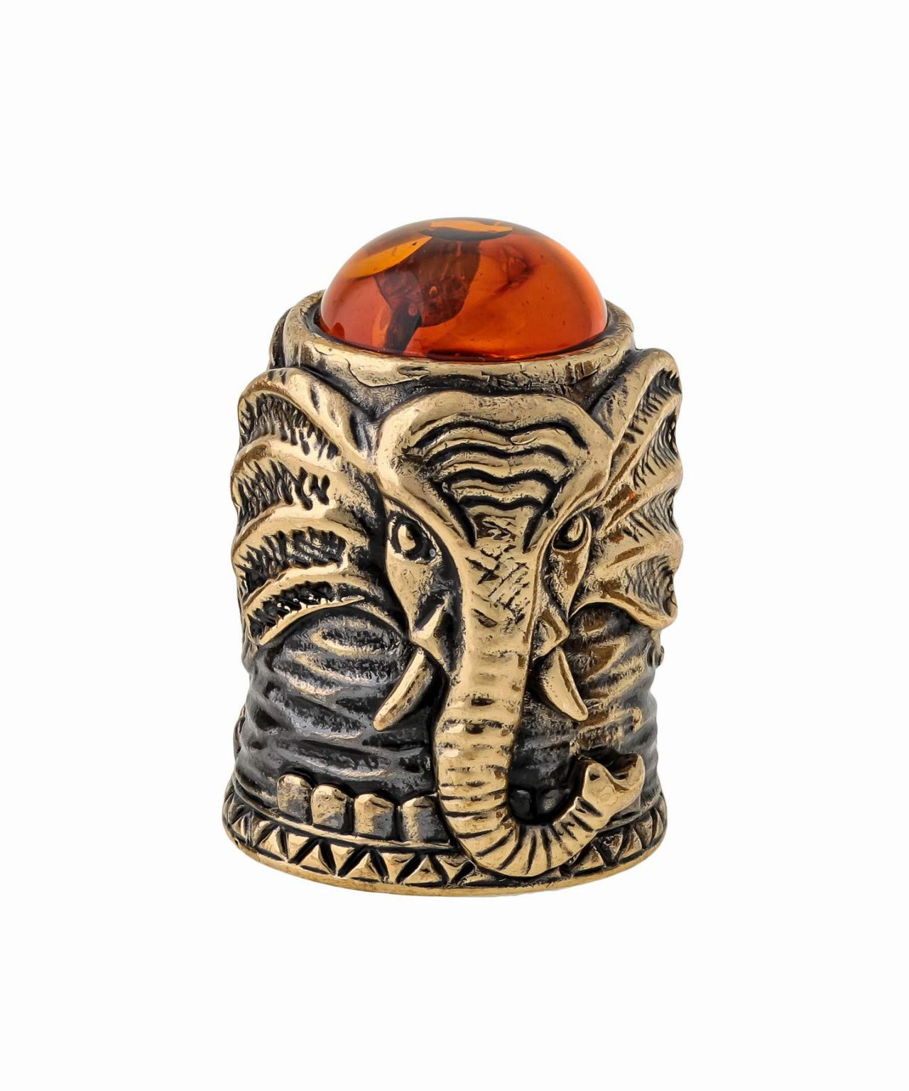 Amber and Brass Thimble (Elephant) Decorative Souvenir Thimbles. Antique and Vintage Designs from Kaliningrad, Russia. Packed in a Beautiful Siberian Birch Bark Gift Box (Random Selection) by Brass and Amber Art