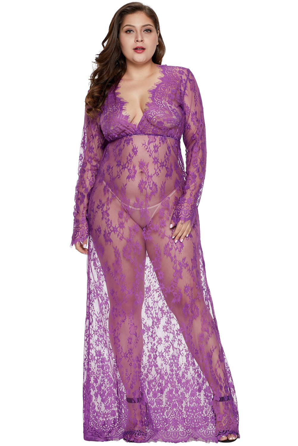cecdf356b8 Dean Fast Women Plus Size Floral Lace Nightgown Long Lingerie Sleepwear  Chemise product image