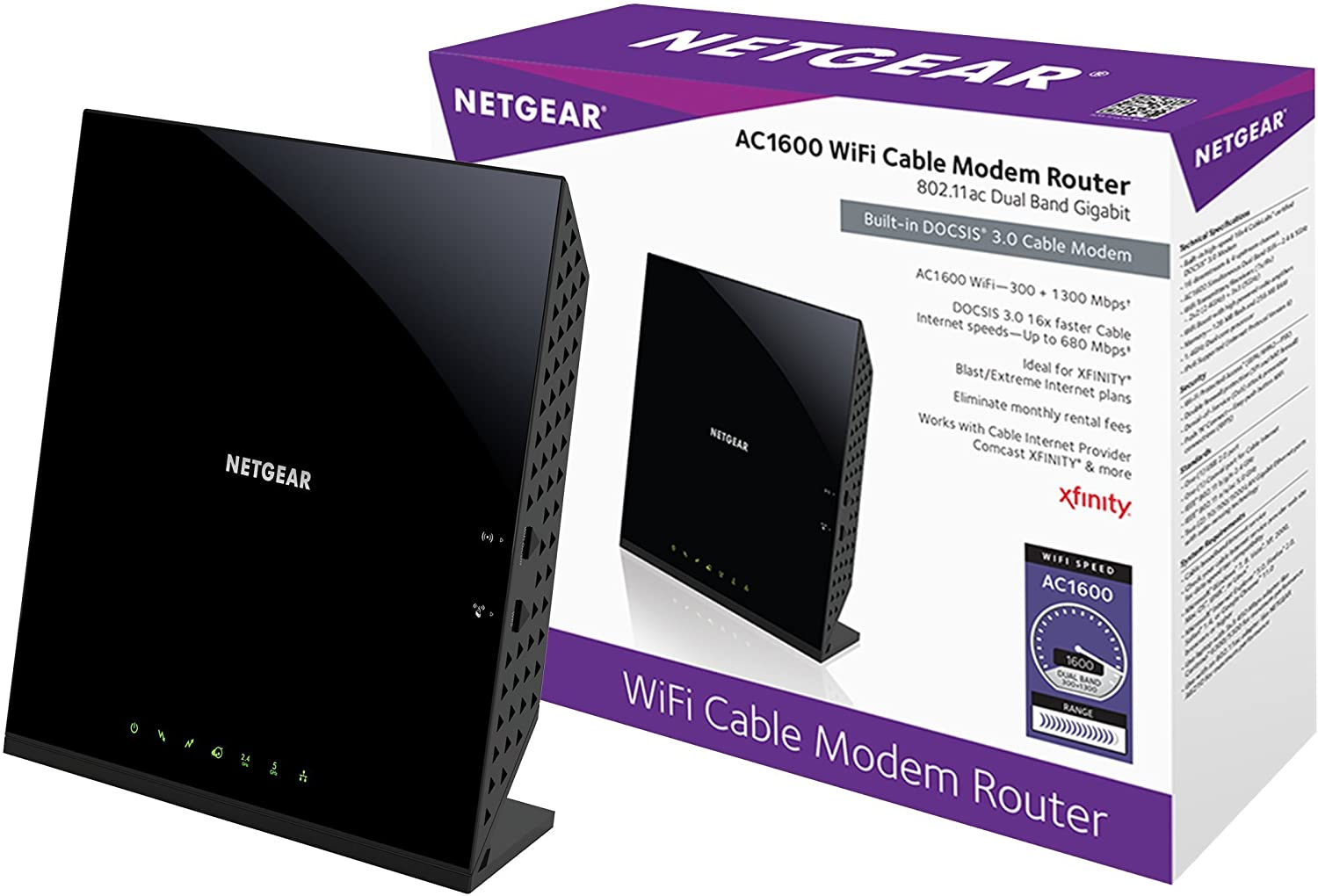 Netgear C6250-100NAS AC1600 (16×4) WiFi Cable Best Modem Router Combo (C6250) DOCSIS 3.0 Certified For Xfinity Comcast, Time Warner Cable, Cox, More