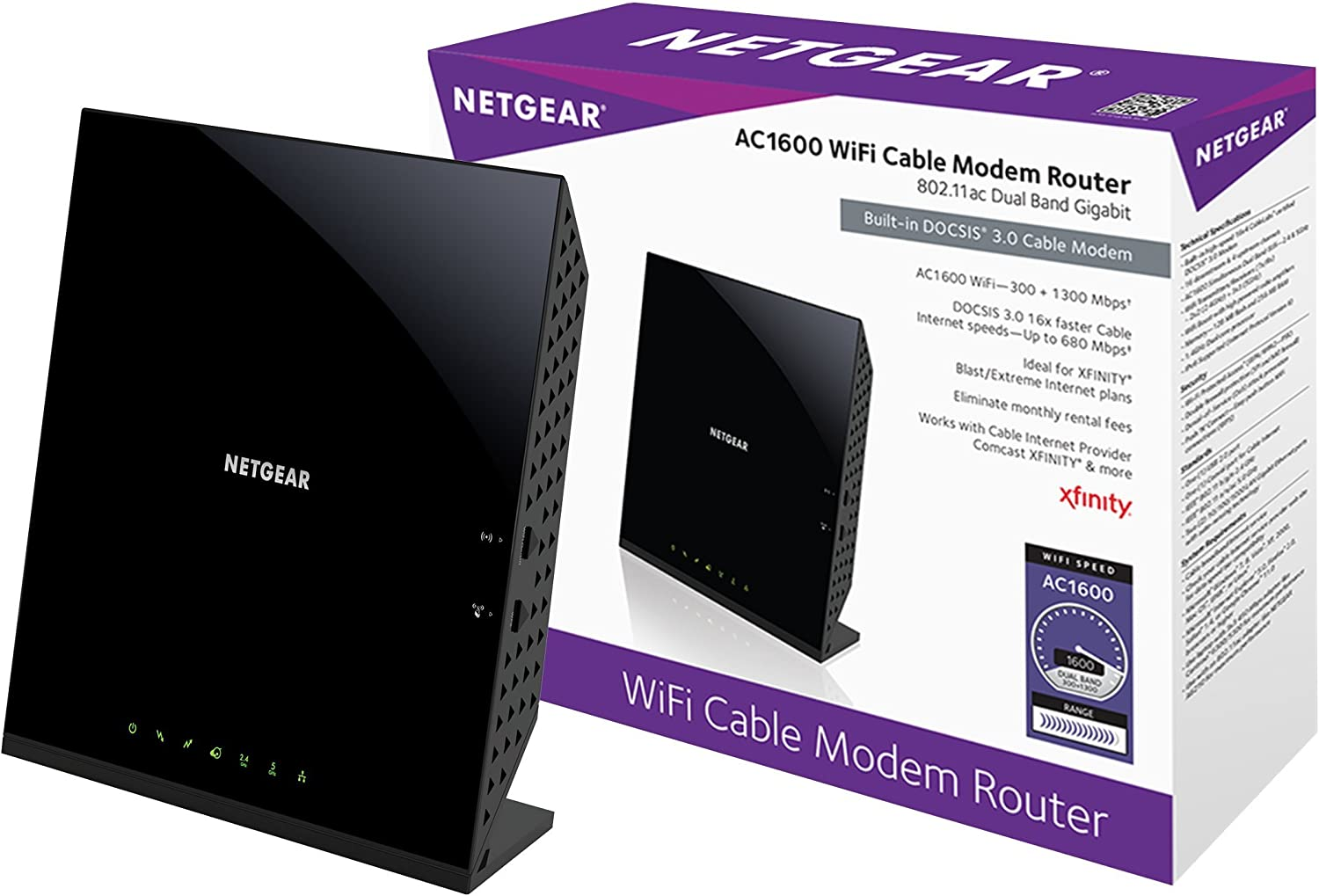 Netgear c6250-100nas ac1600 (16x4) wifi cable best modem router combo (c6250) docsis 3.0 certified for xfinity comcast, time warner cable, cox, more