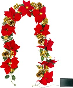 TURNMEON 6FT Christmas Poinsettia Garland with 20 Lights 10 Poinsettia 110 Glitter Golden Berry 5 Pinecones 60 Leaves Battery Operated Christmas Decor Indoor Outdoor Mantle Holiday Decor (Warm White)