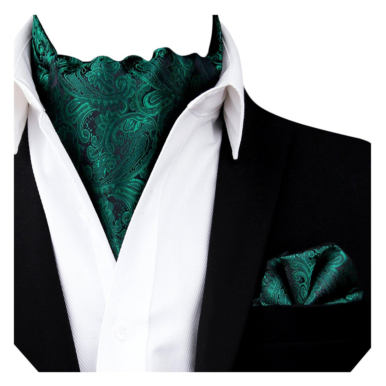 Alizeal Men's Paisley Cravat Tie Ascot Set(Black) AM139-Black