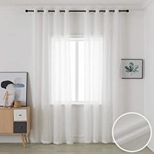 Top Ring Grommet Sheer Curtains Semi Transparent Curtains Faux Linen Curtains for Living Room 52 x 96 Inch Long Curtains White 2 Panels