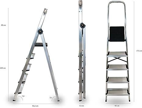 Arcama EA05 Escalera domestica, GRIS PLATA, 12 cm: Amazon.es: Bricolaje y herramientas