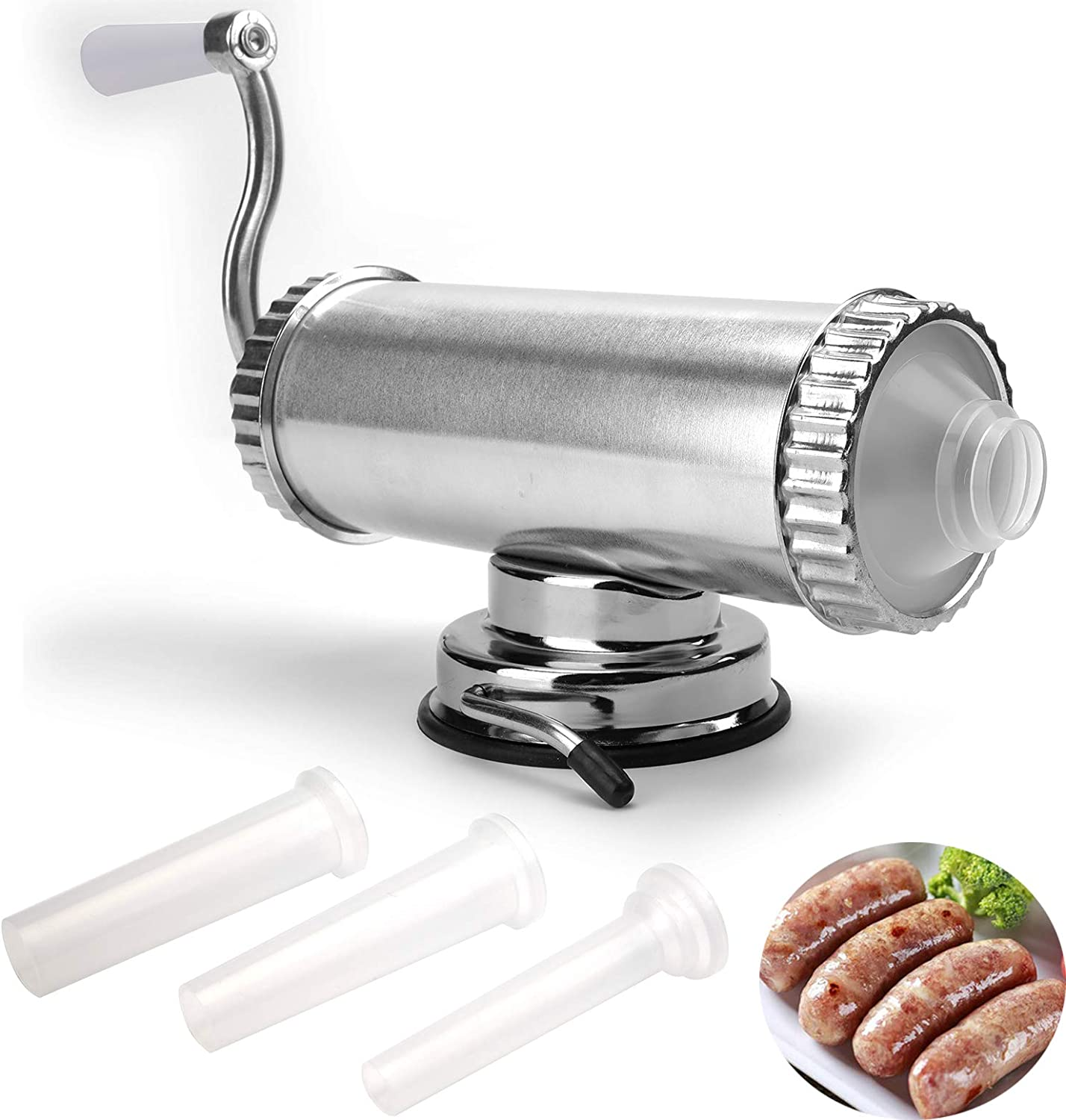 Lawei 2 LBS Sausage Stuffer Horizontal Kitchen Stuffing Maker Stainless Steel Meat Sausage Machine for Household Commercial