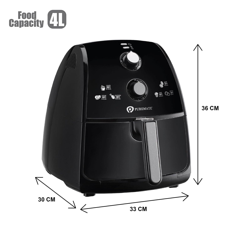 PureMate 4L Freidora sin Aceite, Freidora de Aire Caliente Capacidad 4 L, Potencia de 1500 Watts, Control de Temperatura y Temporizador, ...