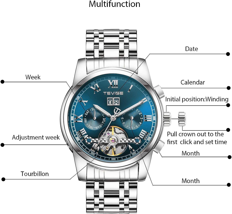 RORIOS Herren Automatik Mechanisch Tourbillon Armbanduhr Edelstahl Metallarmband Kalender Leuchtend Zeiger Multifunktionen Armbanduhr Blau B