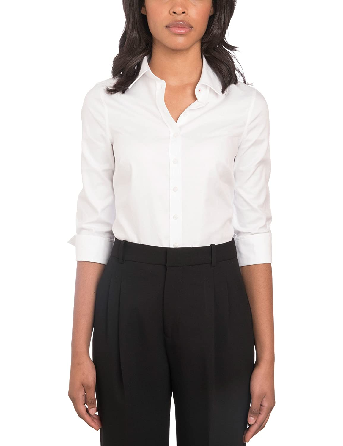 f1ad4273bc2af1 HAWES   CURTIS Womens White Twill Semi Fitted Cotton Shirt 3 Quarter Sleeve   Amazon.co.uk  Clothing