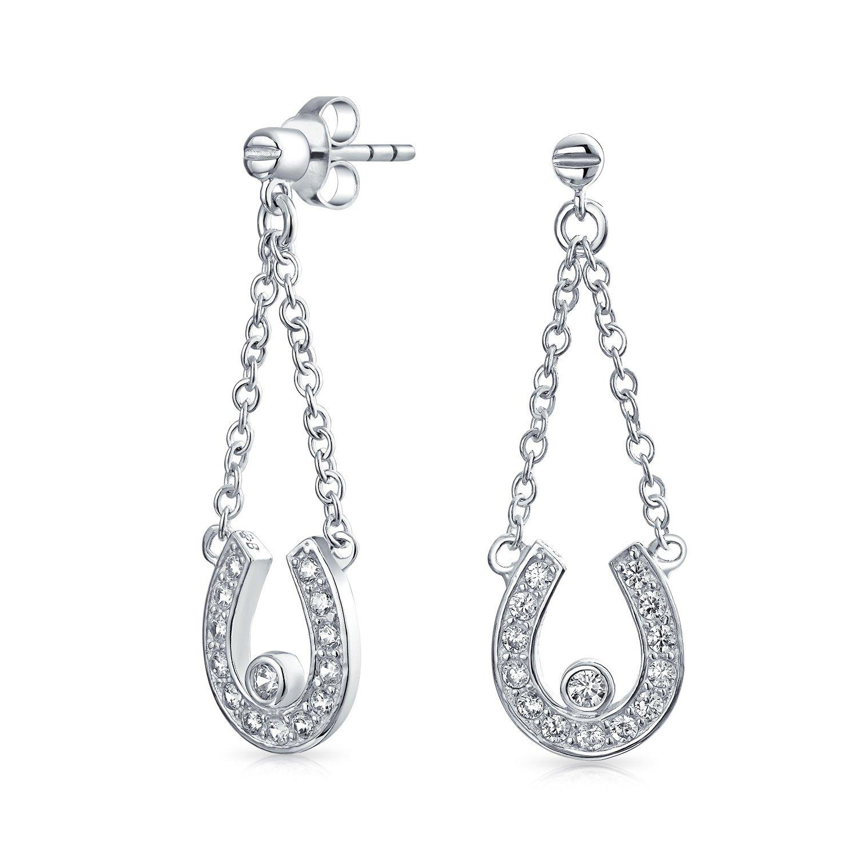 Amazon Pave CZ Horseshoe Sterling Silver Dangle Earrings